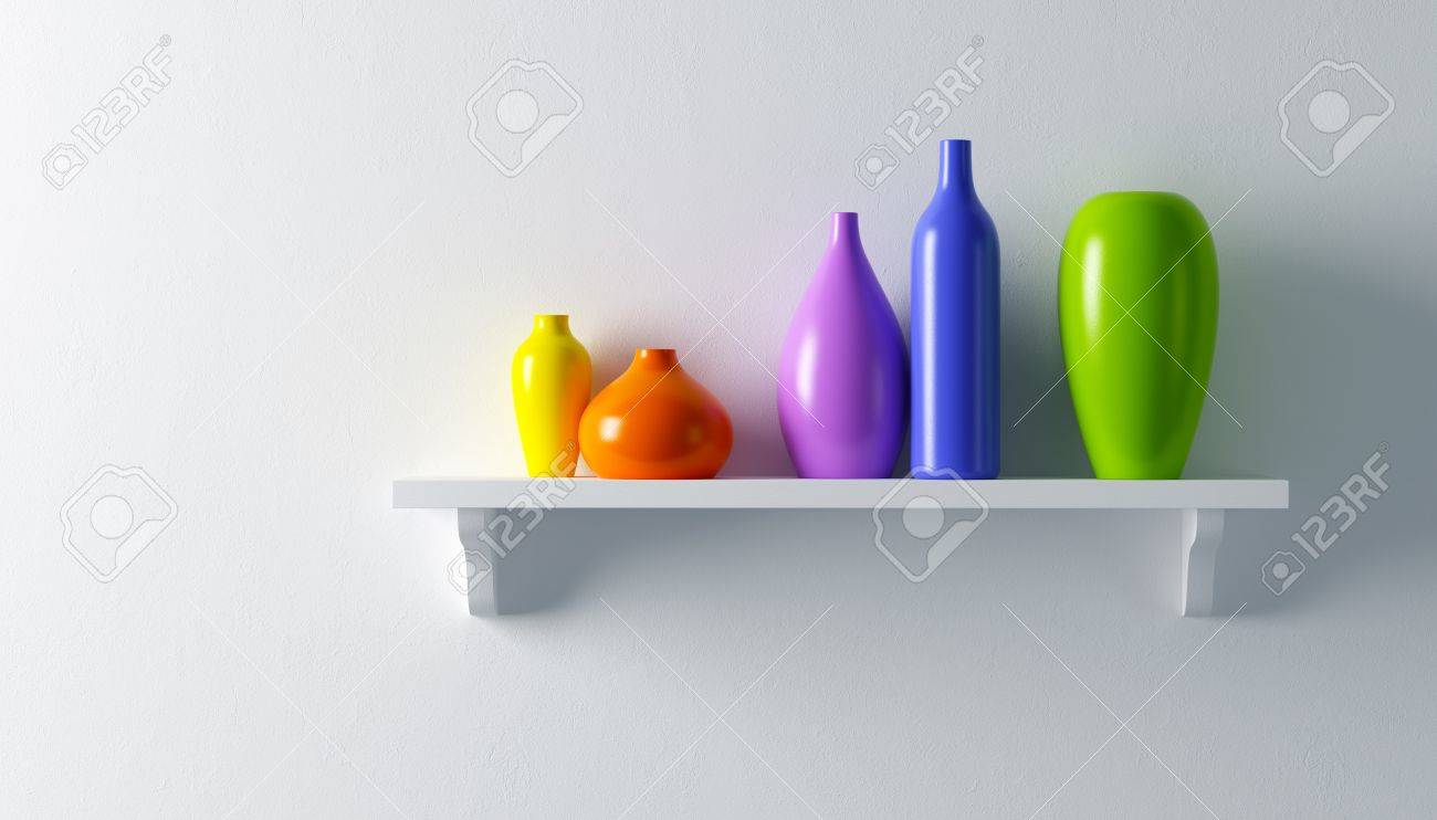 ceramics vases on the shelf 3d render Stock Photo - 8591498
