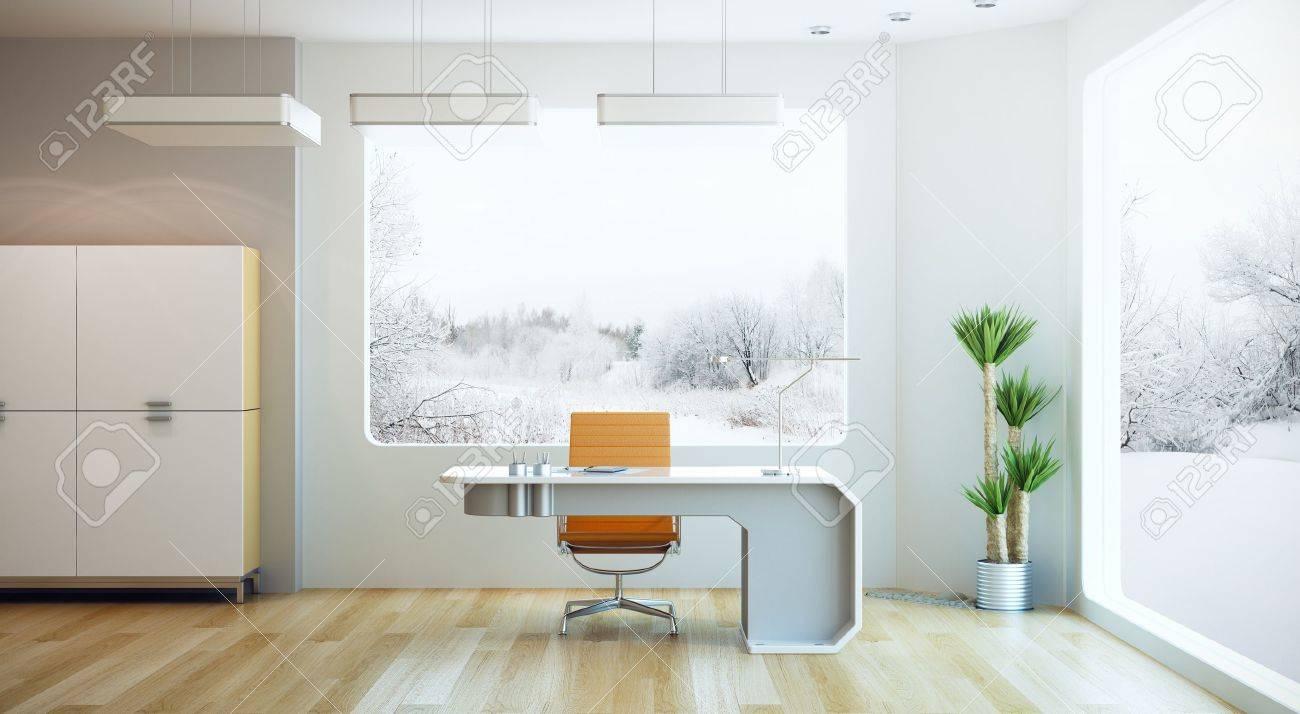 Diseño De Interiores De Oficina Moderna, Procesamiento 3d Fotos ...