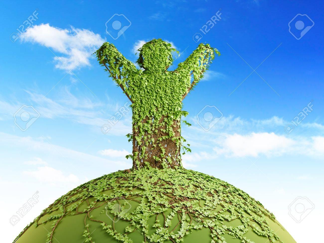 symbolic tree man on the planet, 3d render Stock Photo - 11743904
