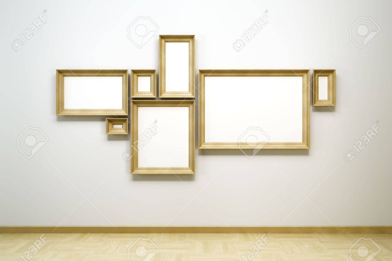 Blank Frames In The Gallery, 3d Rendering Stock Photo, Picture And ...