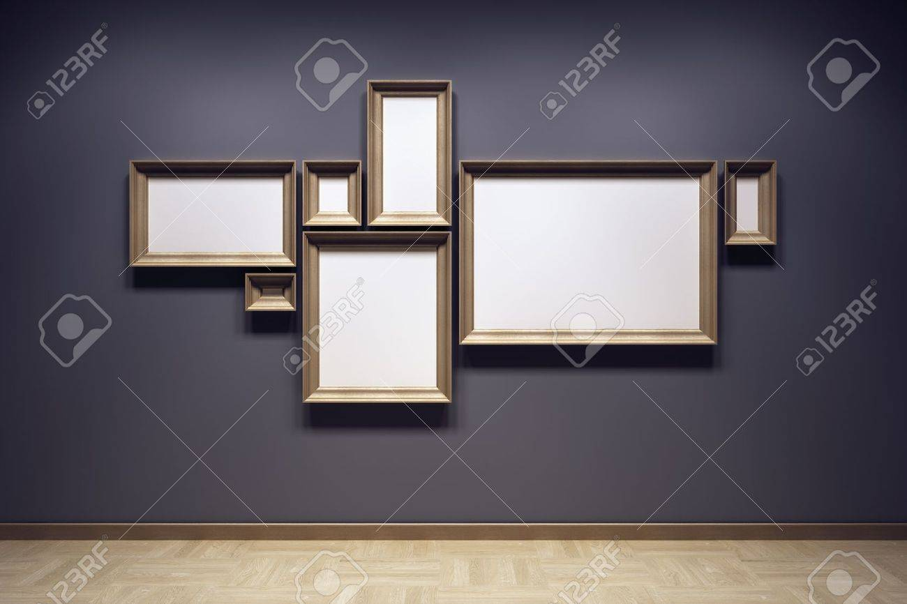 blank frames in the gallery, 3d rendering Stock Photo - 14676914