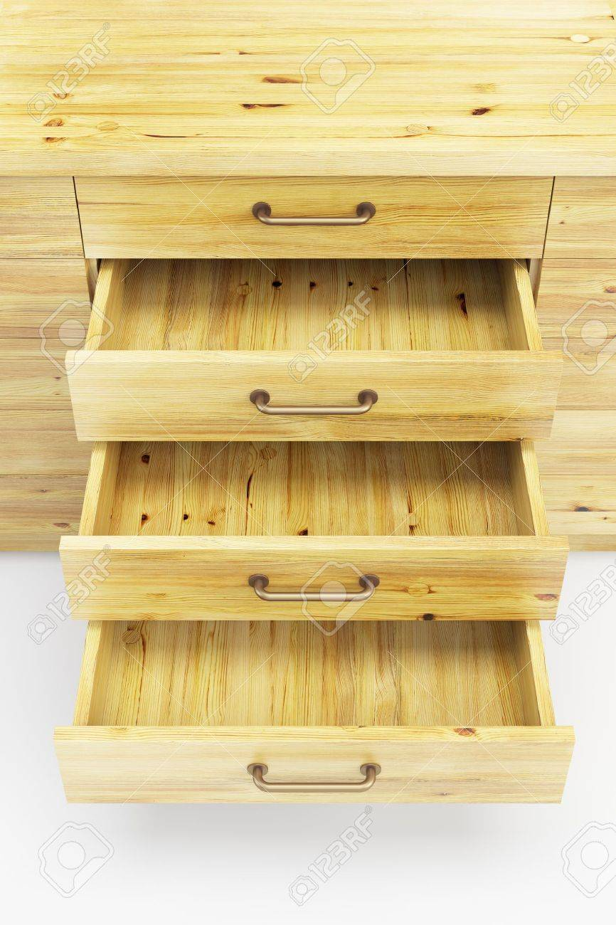 Wooden Cupboard With Opened Empty Drawers Stock Photo Picture And