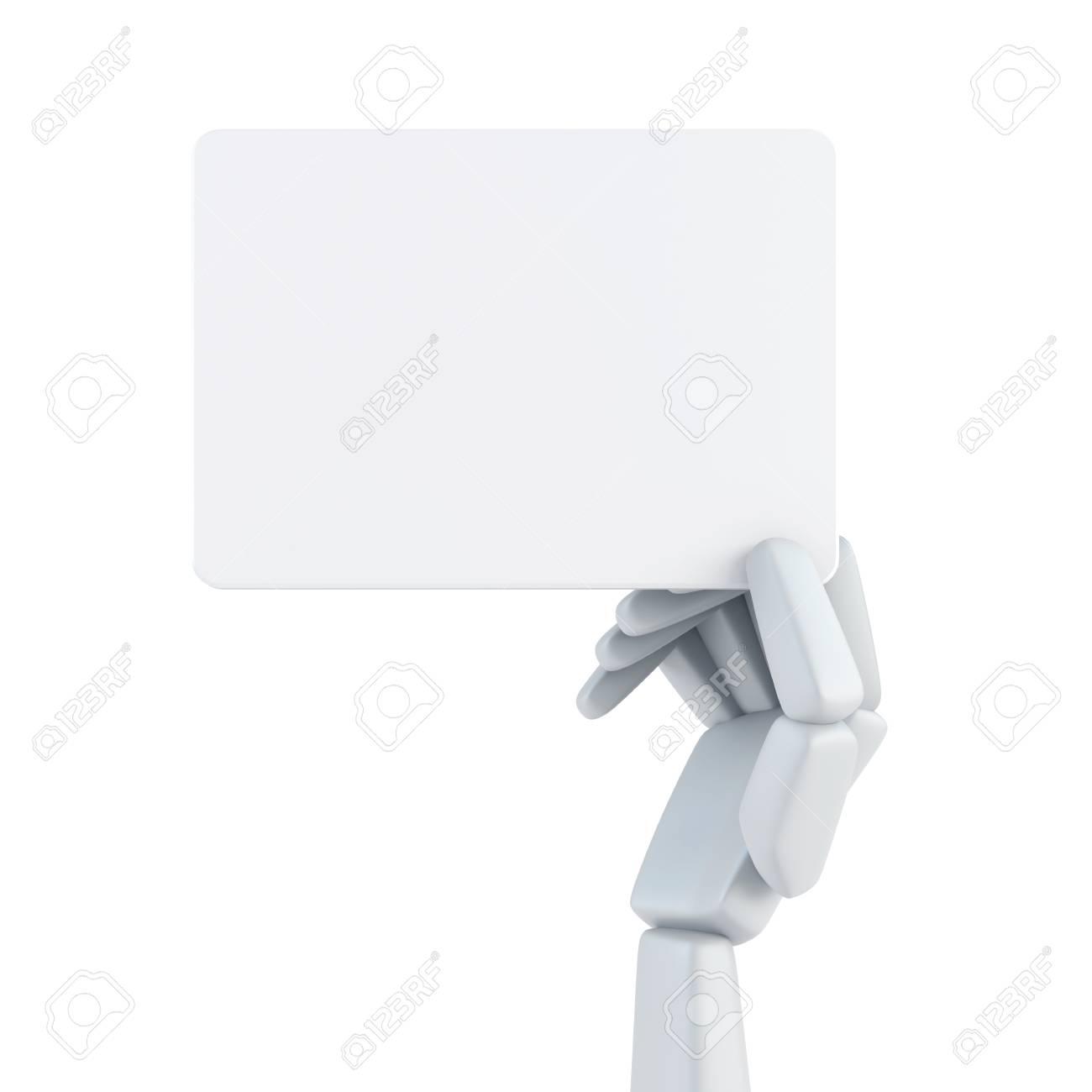 Main De Robot Dtenir Une Carte Visite Vierge Banque DImages