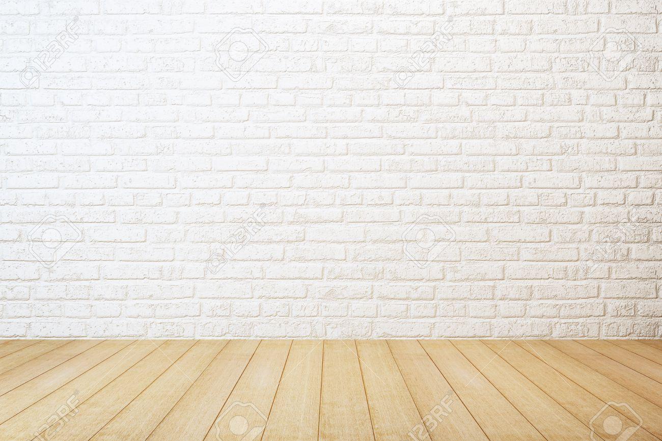 finest habitacin vaca con pared de ladrillo blanco y el piso de madera foto de archivo with pared ladrillo blanco - Pared Ladrillo Blanco