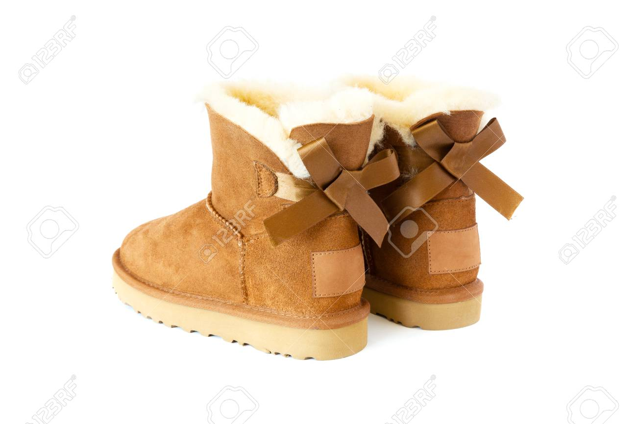Pair Of Uggs With Fur, Isolated On