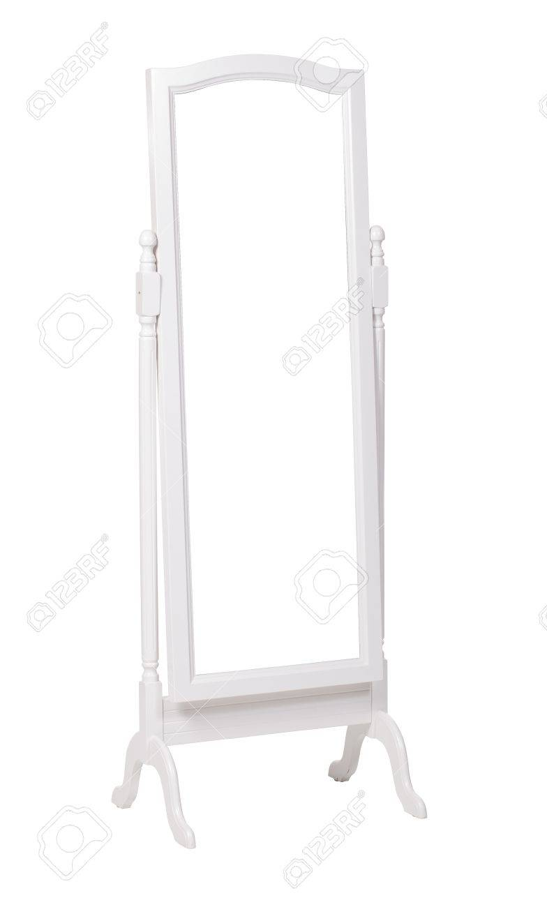 full length dressing mirror on stand folding mirror isolated over white with clipping