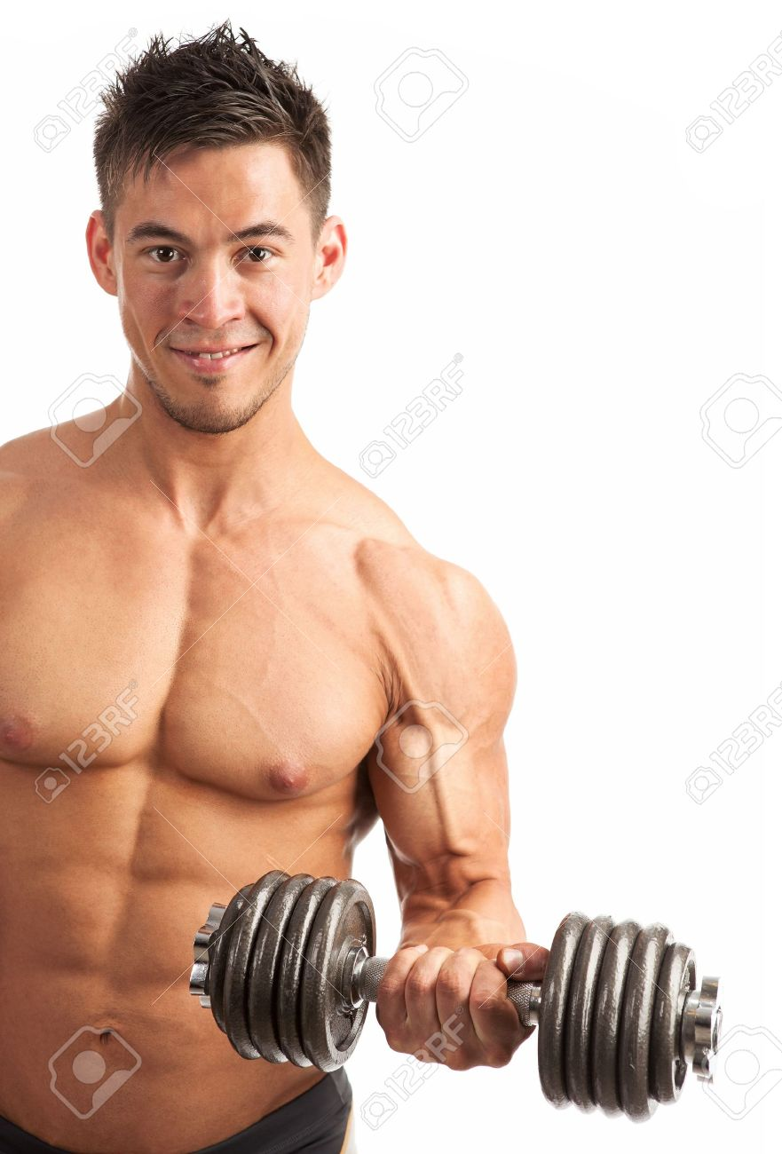 Muscular young man lifting a dumbbell over white background Stock Photo - 19250026