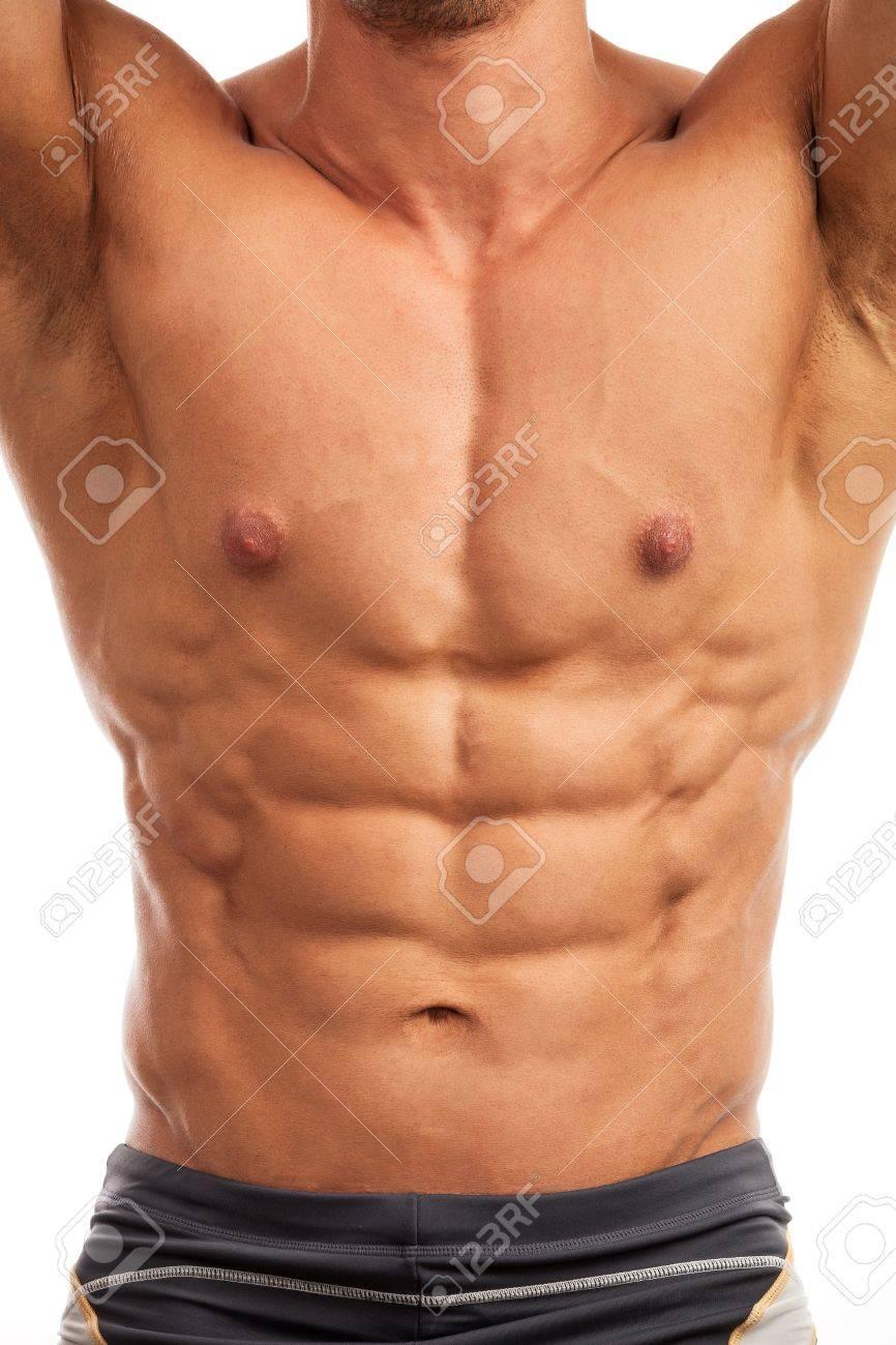 Torso of bodybuilder isolated over white background Stock Photo - 20189779