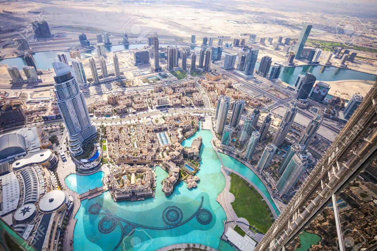 DUBAI, UAE - FEBRUARY 24 - View of downtown Dubai from Burj Khalifa, United Arab Emirates. Picture taken on February 24, 2015. - 48460287