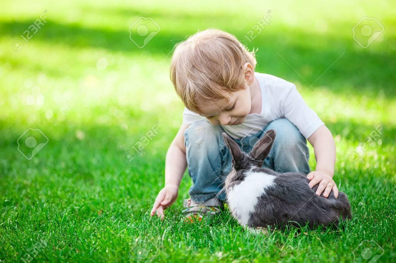 Petit garçon jouant avec le lapin. Lapin à la mise au point. Banque d'images - 48996567