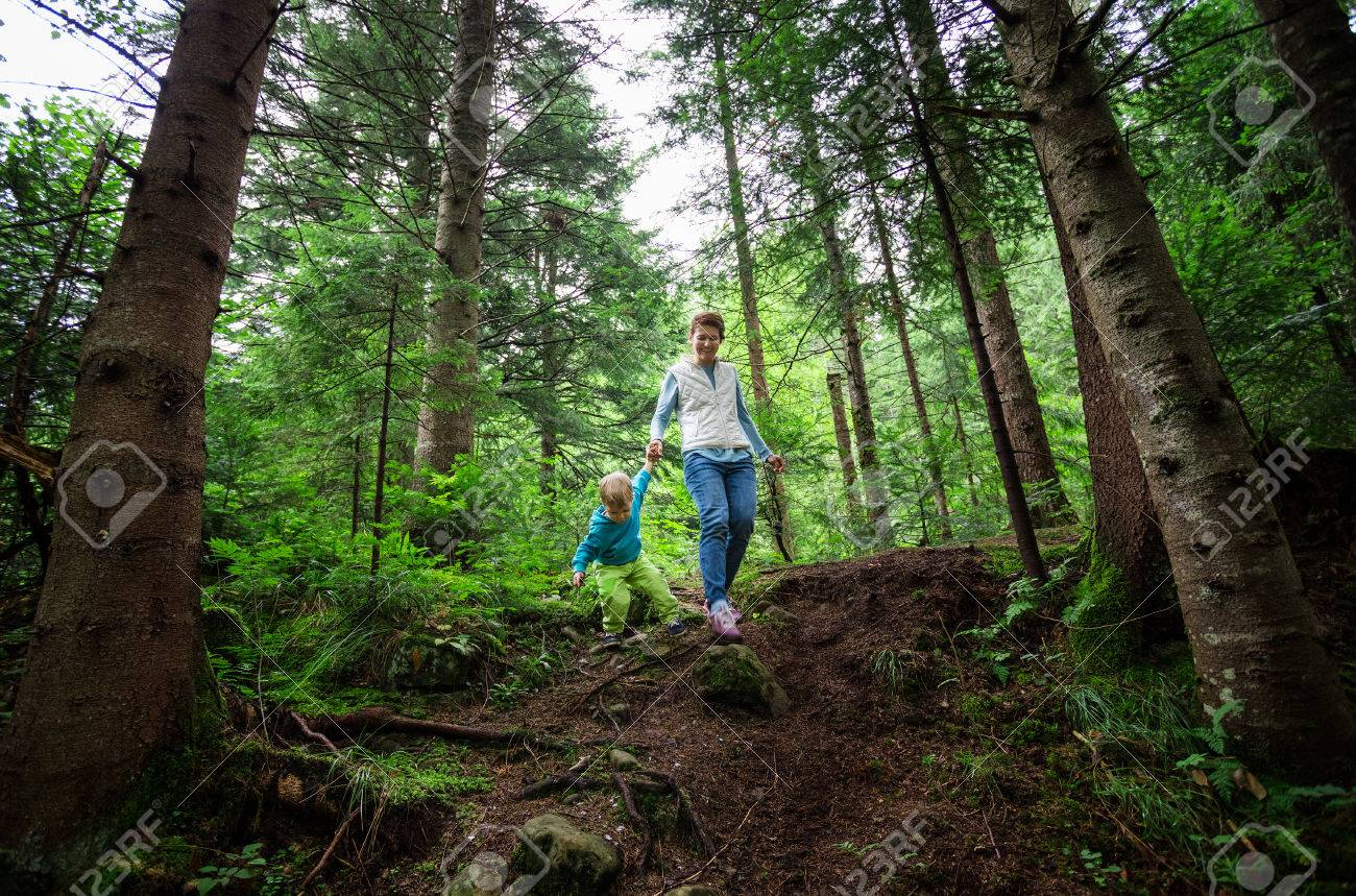 Young woman and toddler son walking down a path in a mountainous forest - 61072392