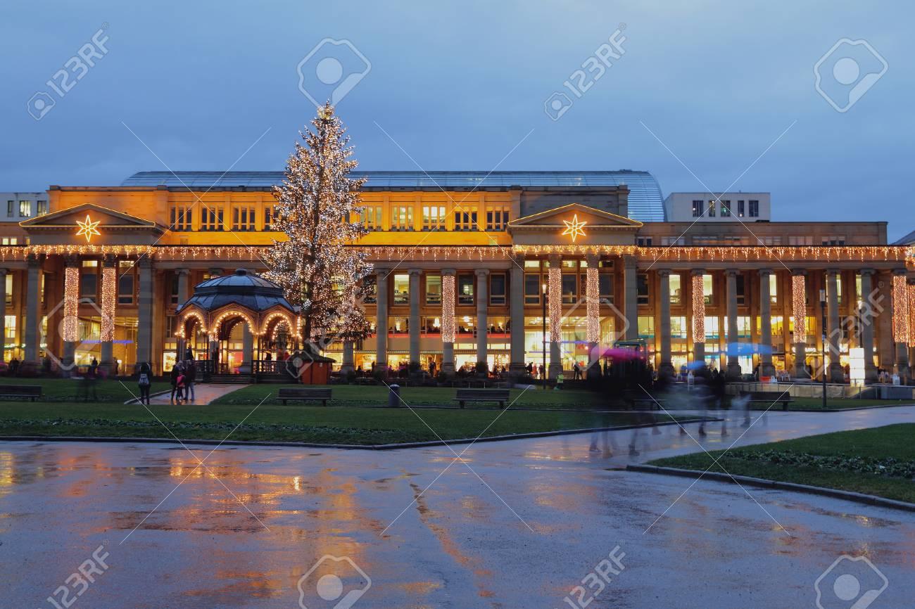 Christmas In Stuttgart Germany.European City On New Year S And Christmas Holidays Stuttgart