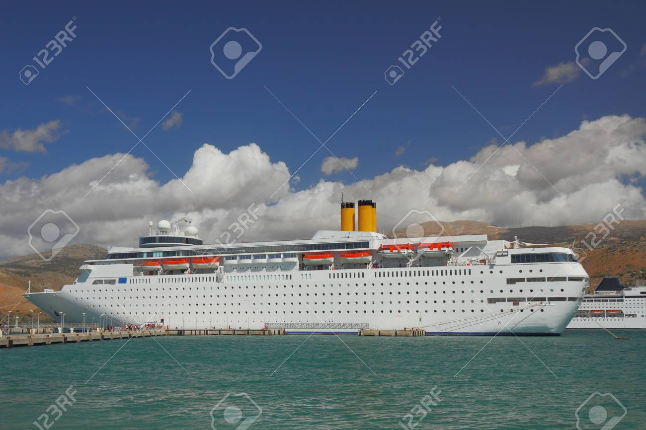 Cruise Liner On Parking In Port Argostoli Kefalonia Greece