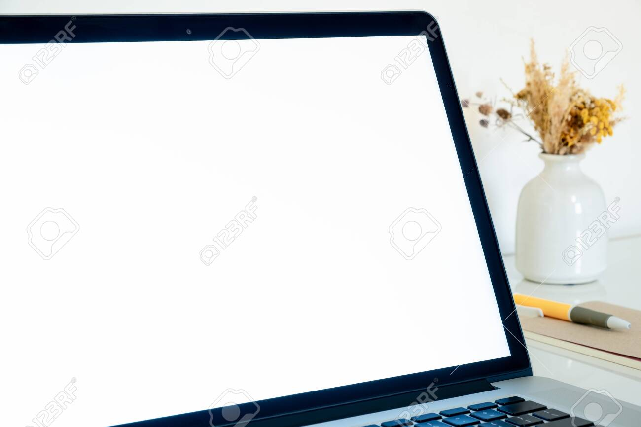 White Screen Of A Laptop Close Up Copy Space View Portable Stock Photo Picture And Royalty Free Image Image 140119215