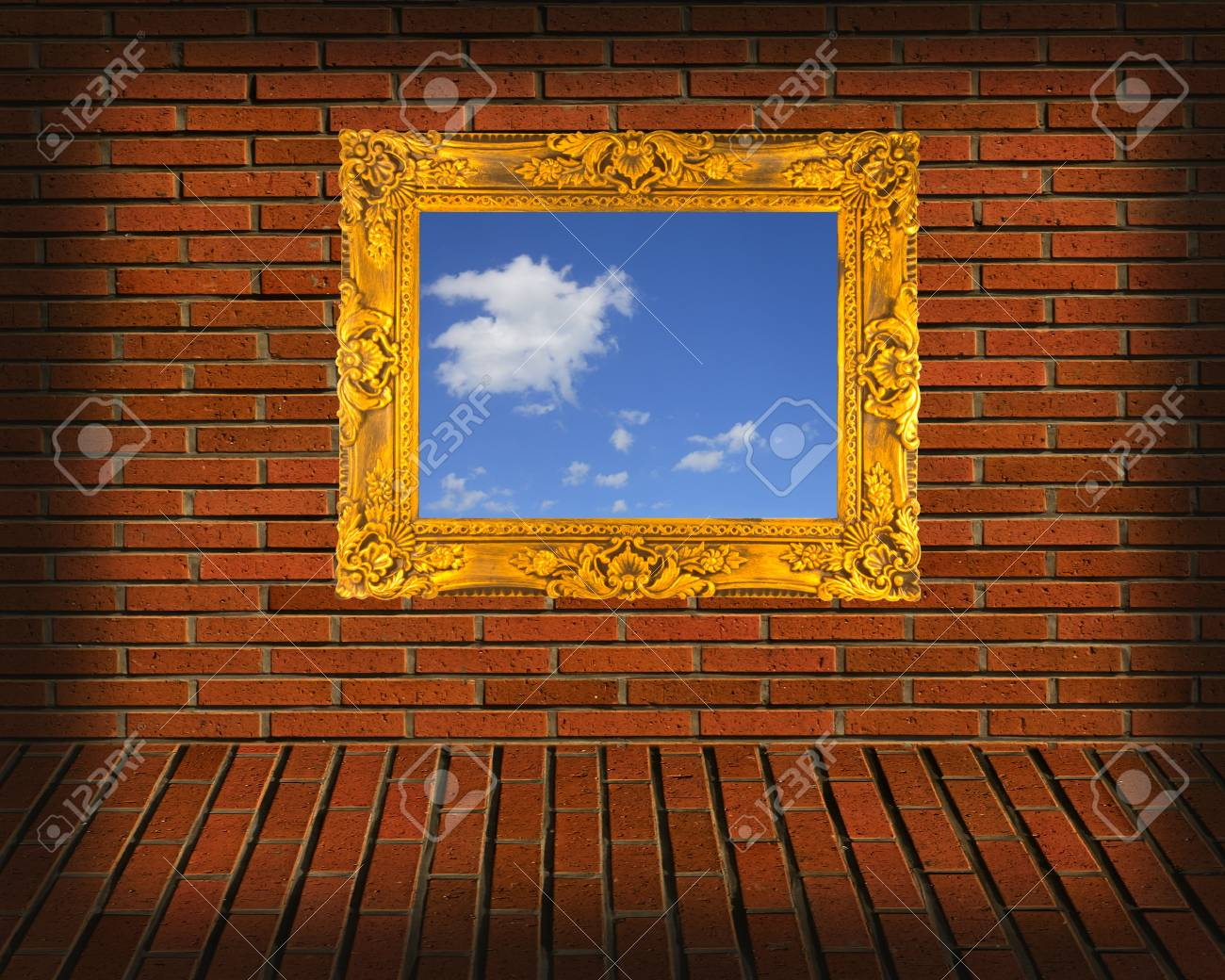 picture frames on brick wall Stock Photo - 12832336