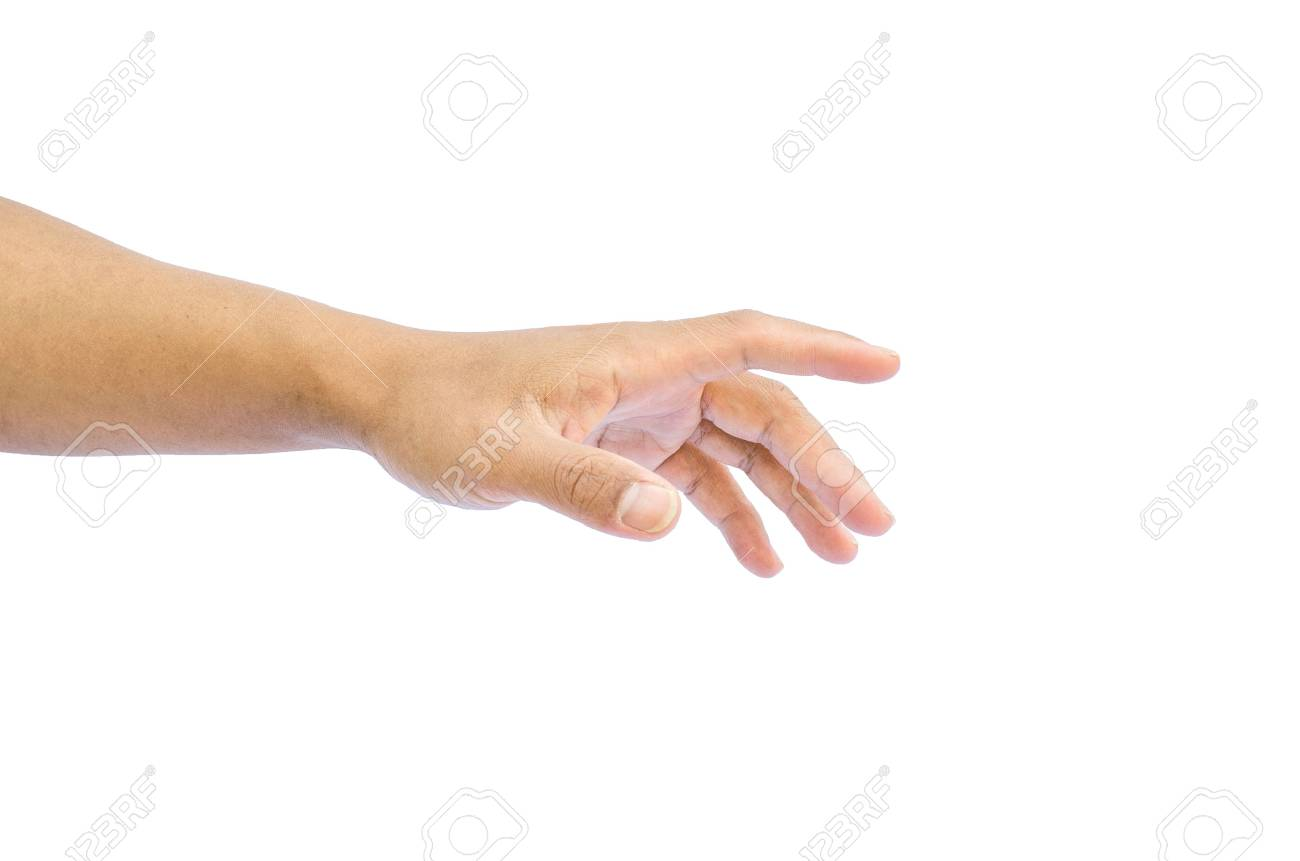 hand reaching for something isolated on a white background - 37840853