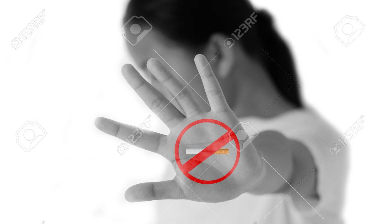Cute kid no smoking sign. Isolated on white background. - 40544543