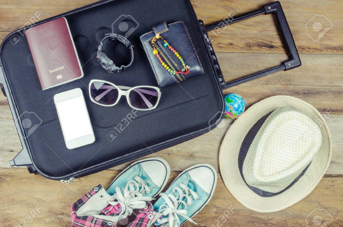 Travel accessories costumes. Passports, luggage, eyewear The cost of travel maps prepared for the trip - 52581332