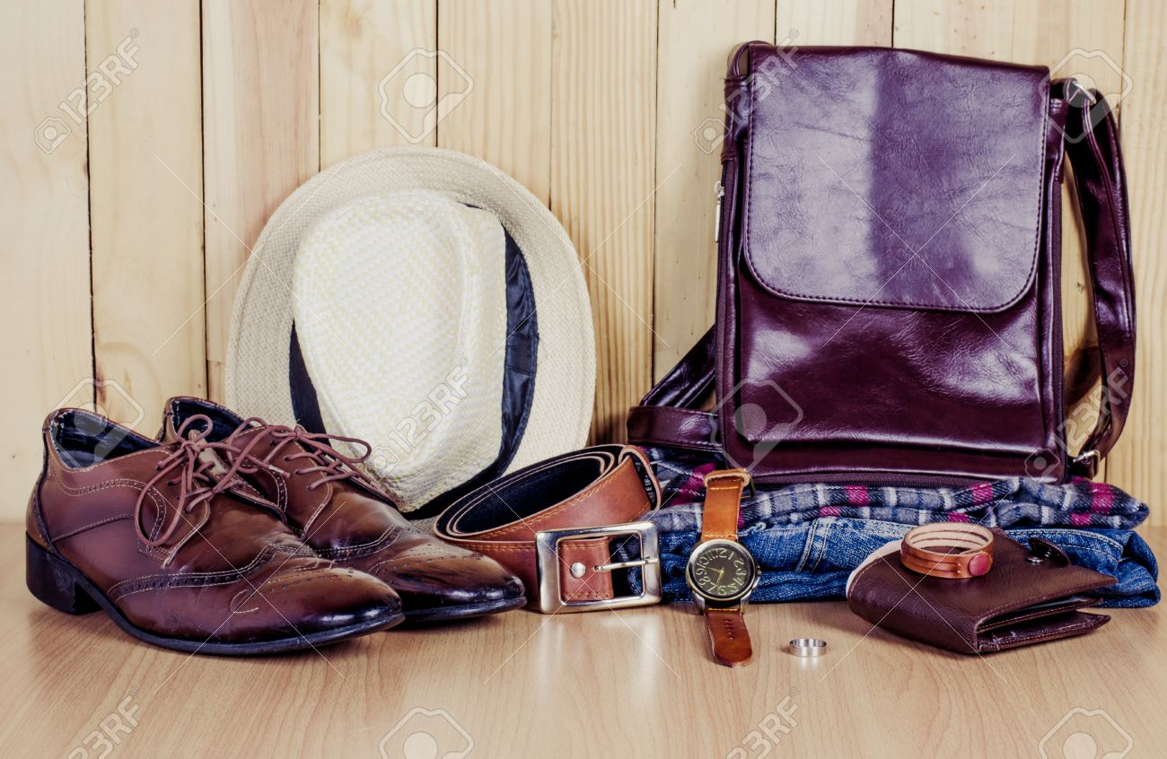 Clothing for mens on the wooden floor - 56195826