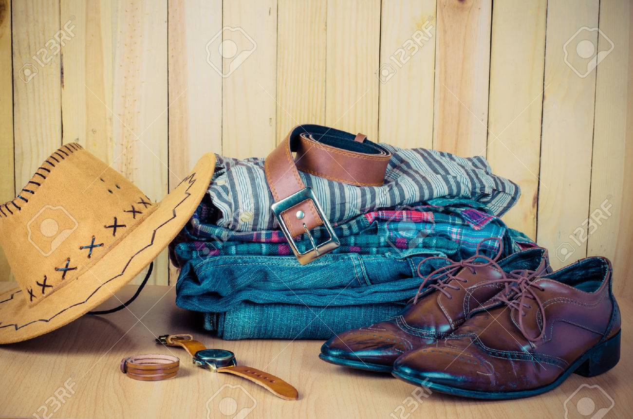 Clothing for mens on the wooden floor - 56195867
