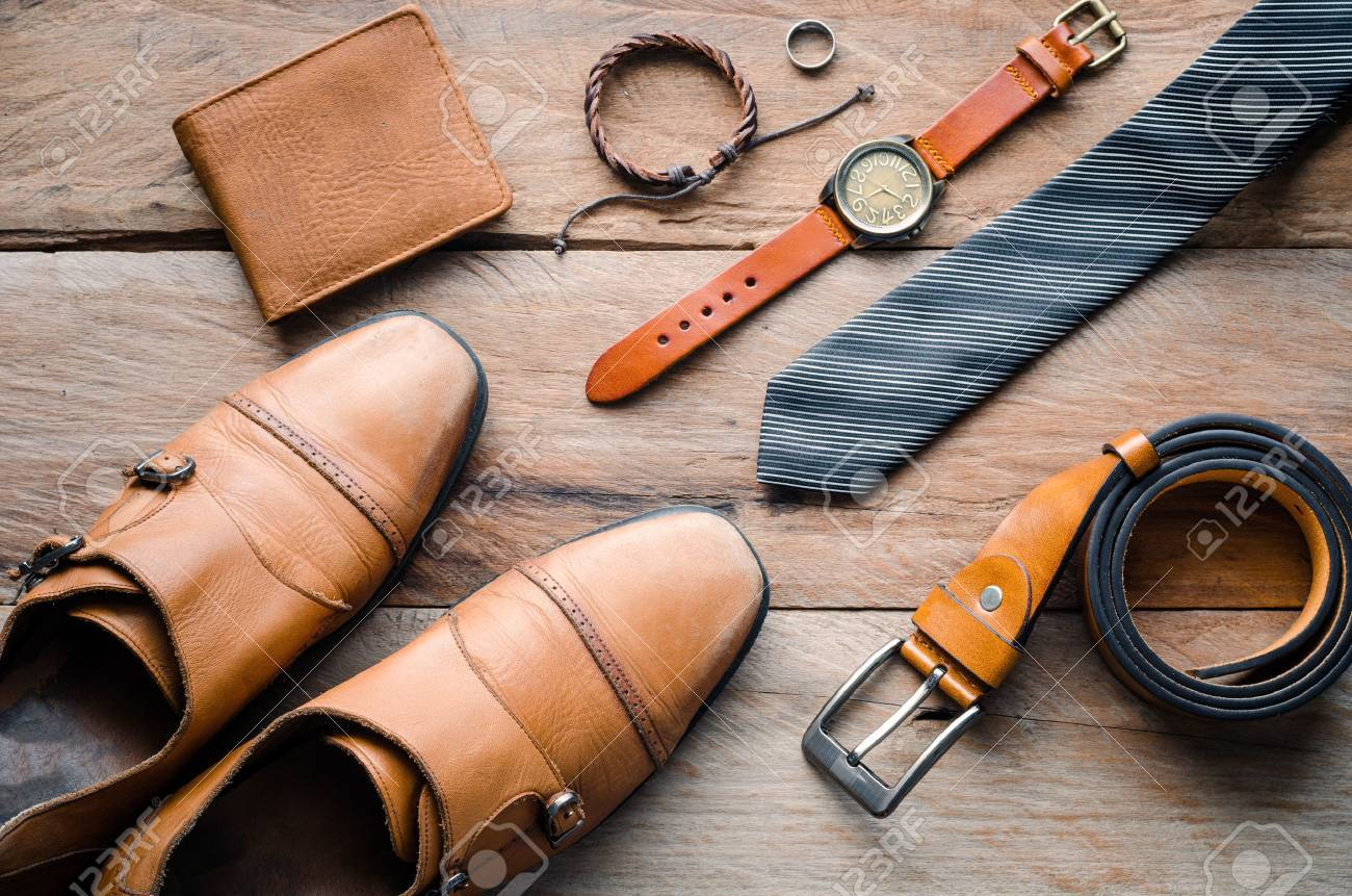 accessories for mens lay on the wooden floor - 63312508