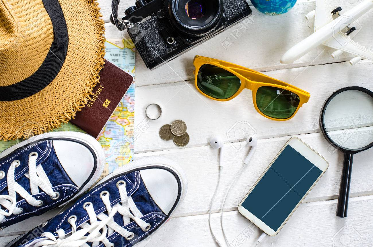 Travel accessories and costume on white background - 63312541
