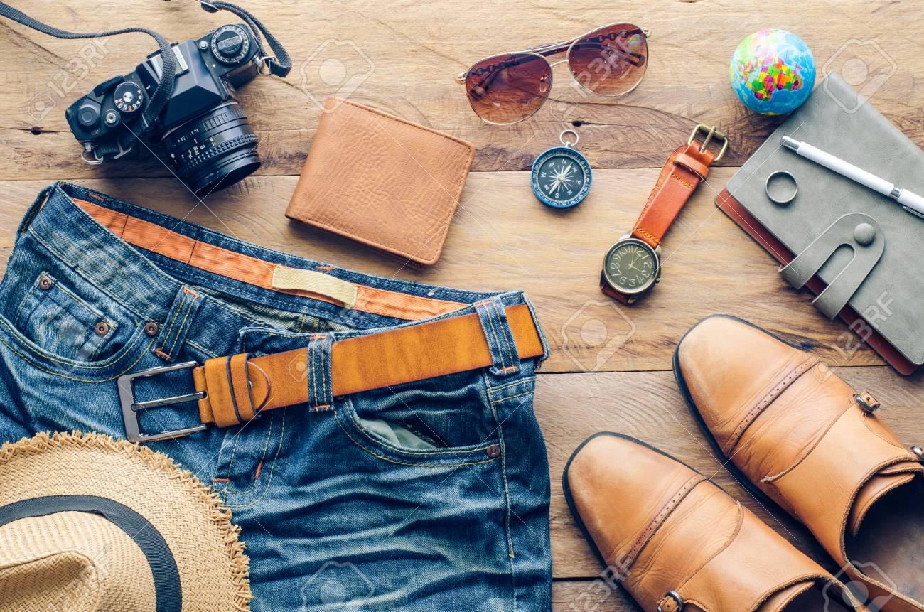 accessories for men on the wooden floor - 63205747