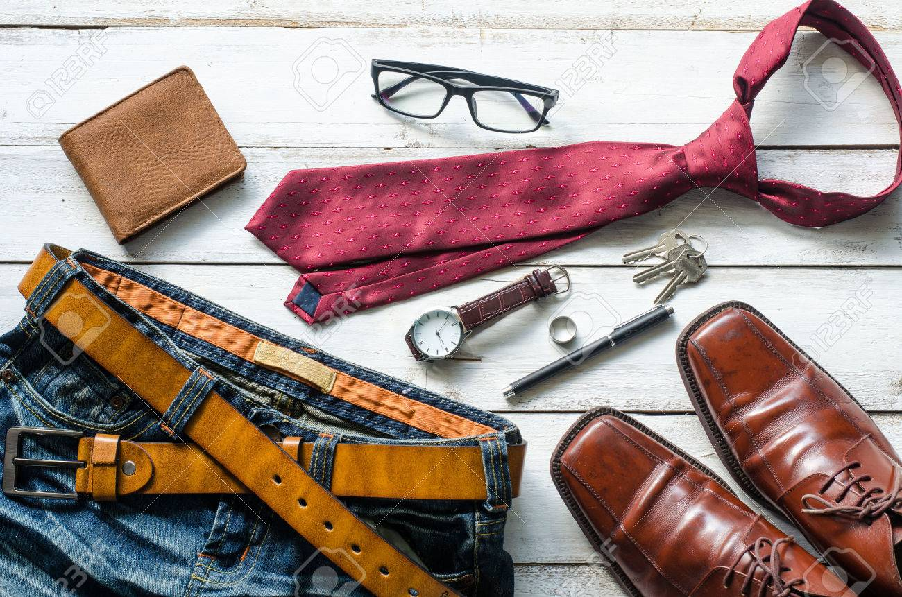 Clothing and accessories for Men on the wooden floor Foto de archivo - 79457028
