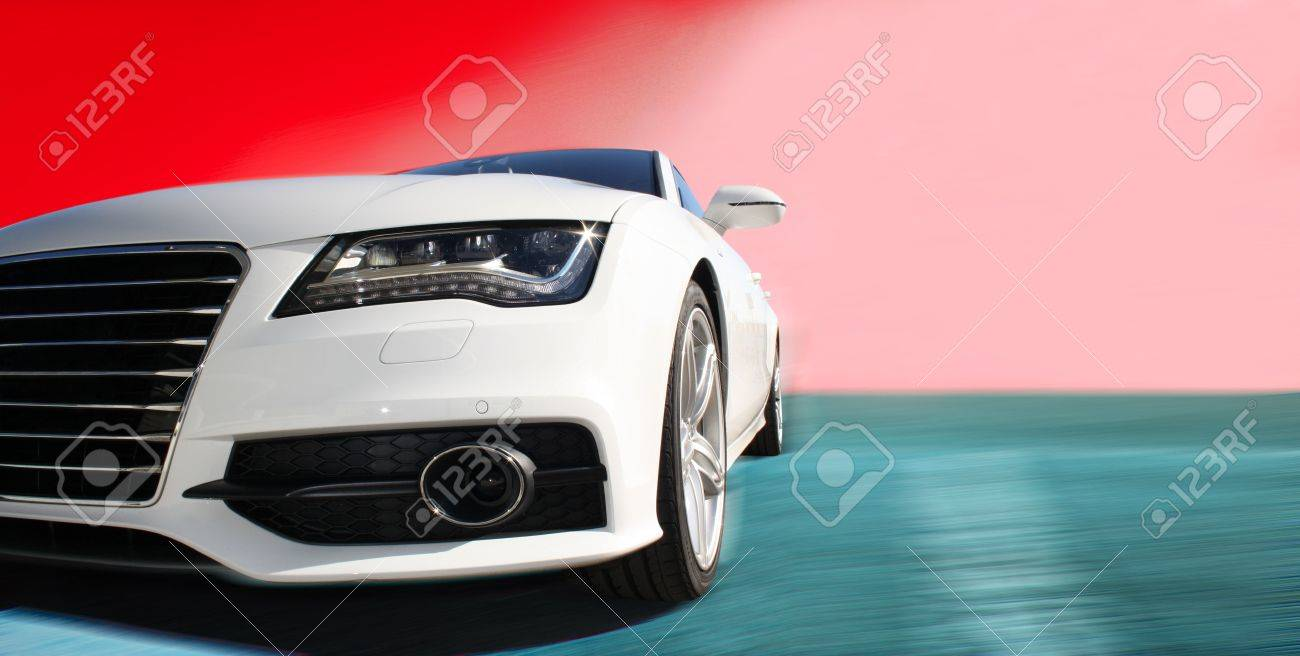 white sports car on a colorful background Stock Photo - 8100882