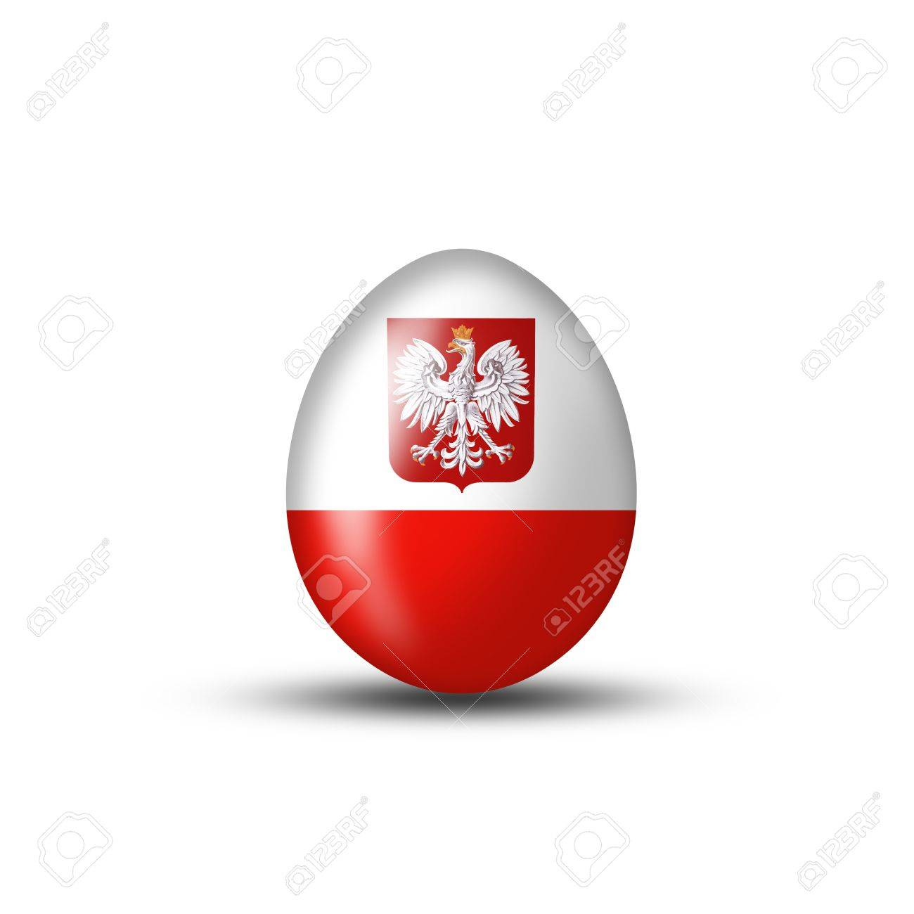 easter egg with a polish flag on a white background stock photo