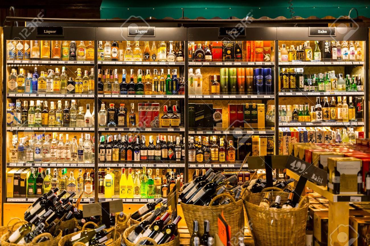 Bangkok, Thailand - March 13, 2016: Liquors Spirits Wine Shop