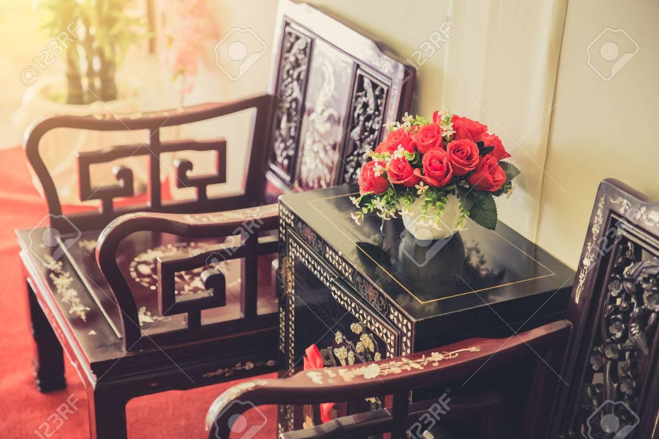 Décoration De Meubles D\'intérieur En Style Chinois. Salon Cuisine ...