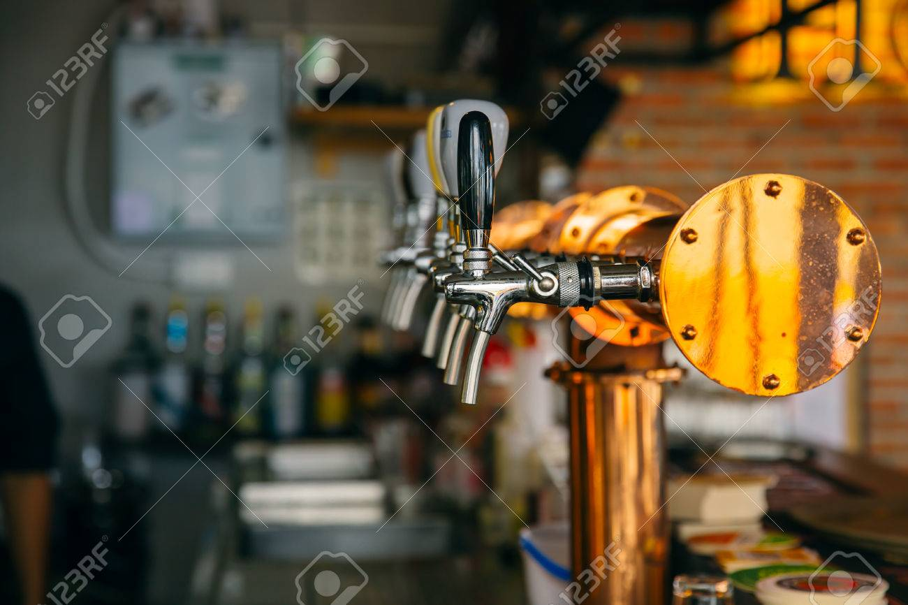Closeup Bar Beer Pipe Tap In Modern Pub And Restuarant. Stock Photo    79163142