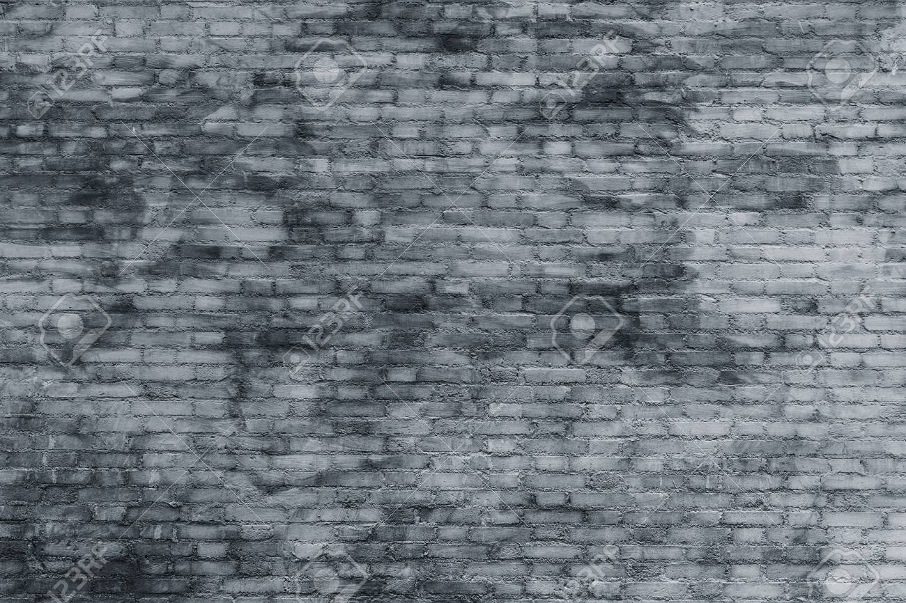 Old Block Brick Wall Tile Background. Grunge Texture. Black And ...