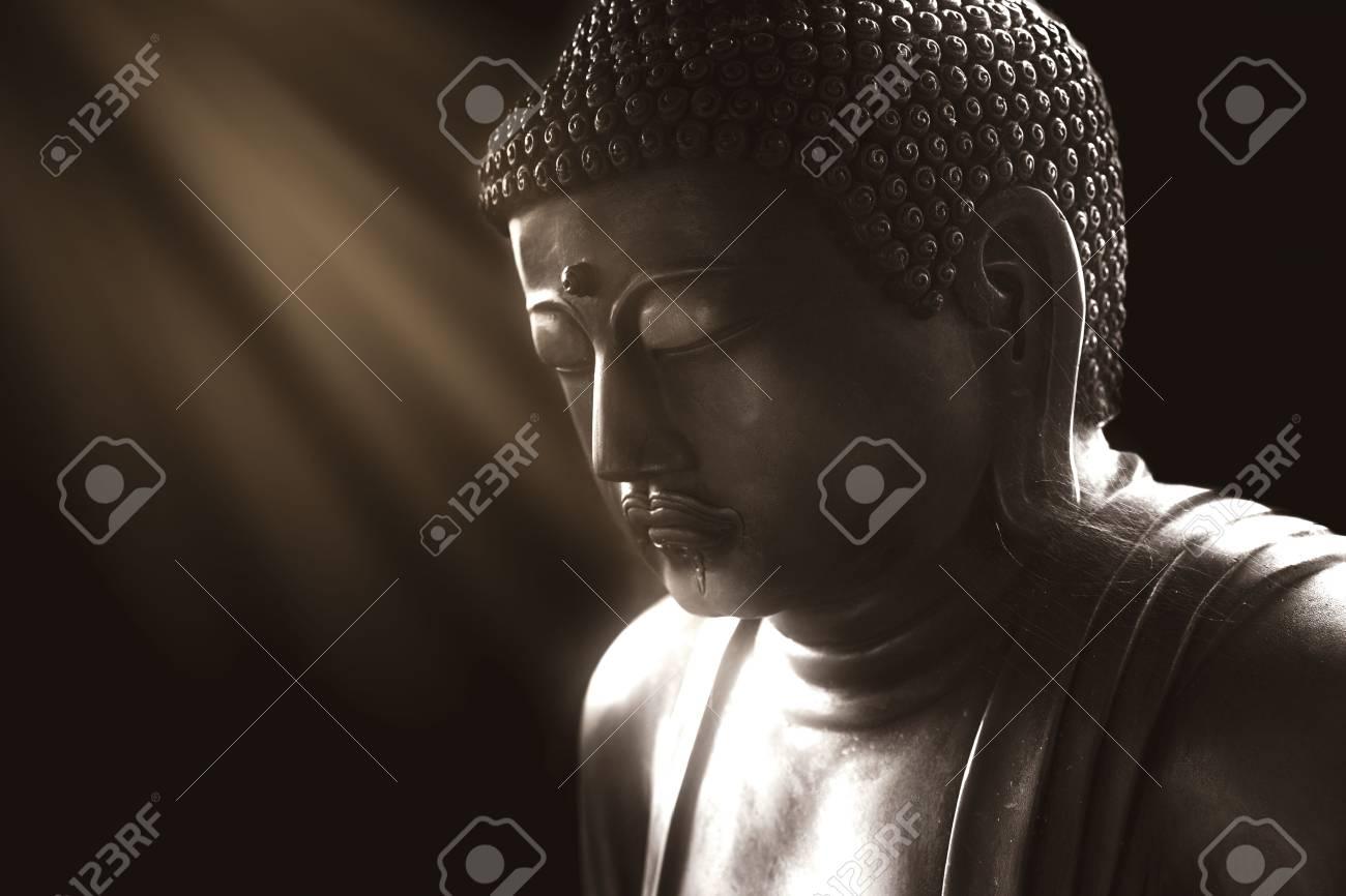 calm buddha with light of wisdom, peacful asian buddha zen tao religion art style statue. - 80734454