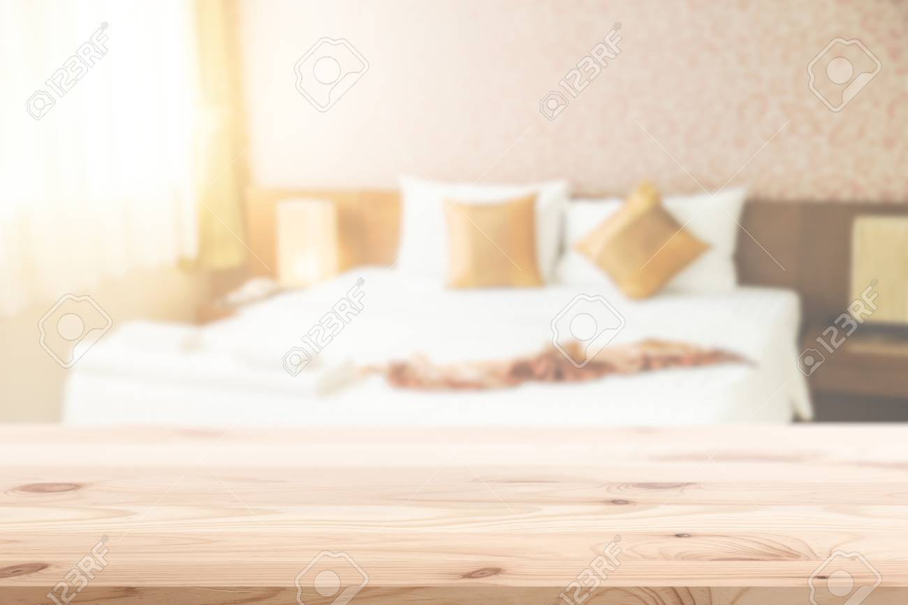 Wood Foreground With Blur Bedroom Background Design For Display