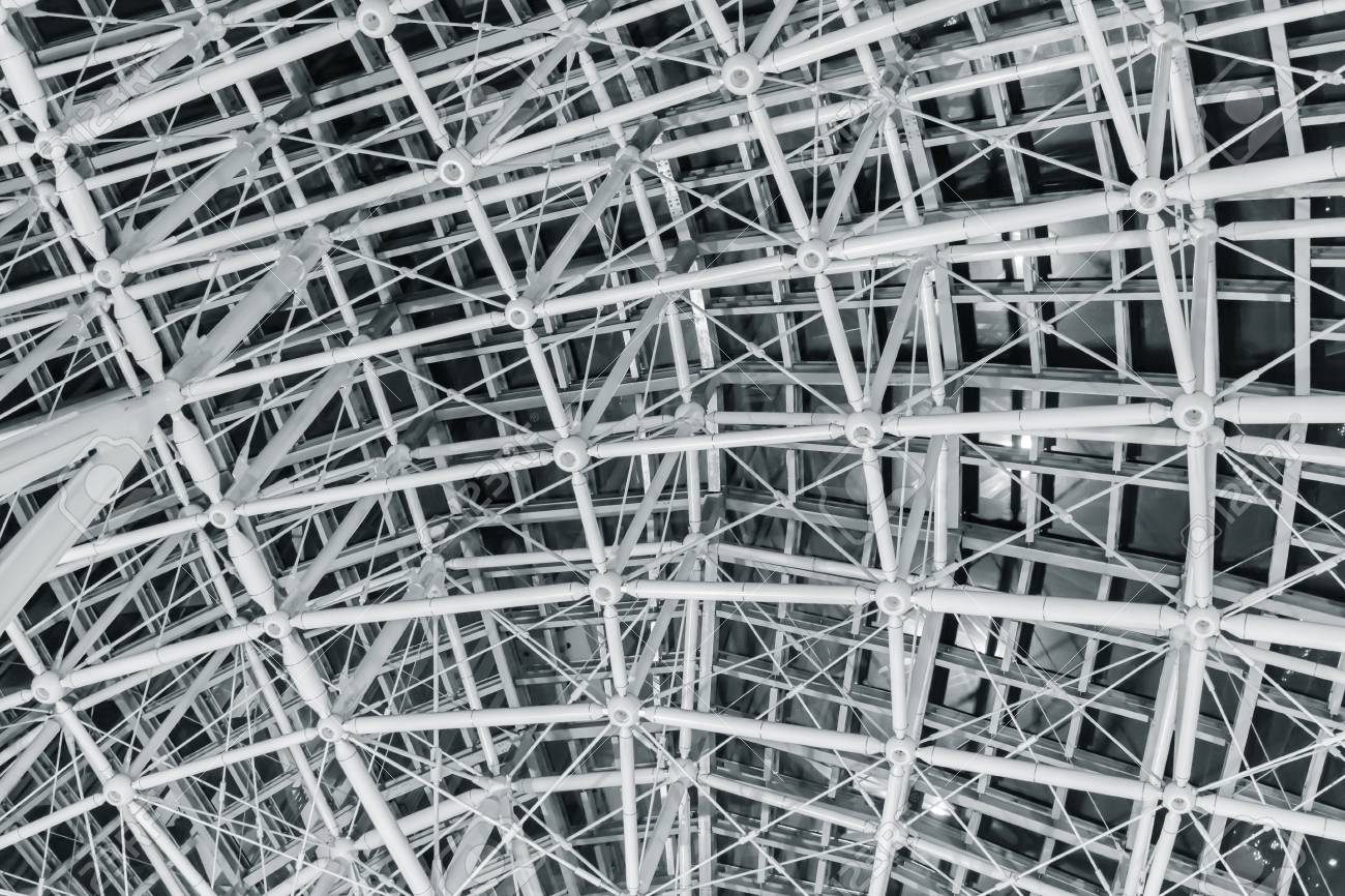 Steel Roof Geometry Wire Frame Construction Stock Photo, Picture And ...