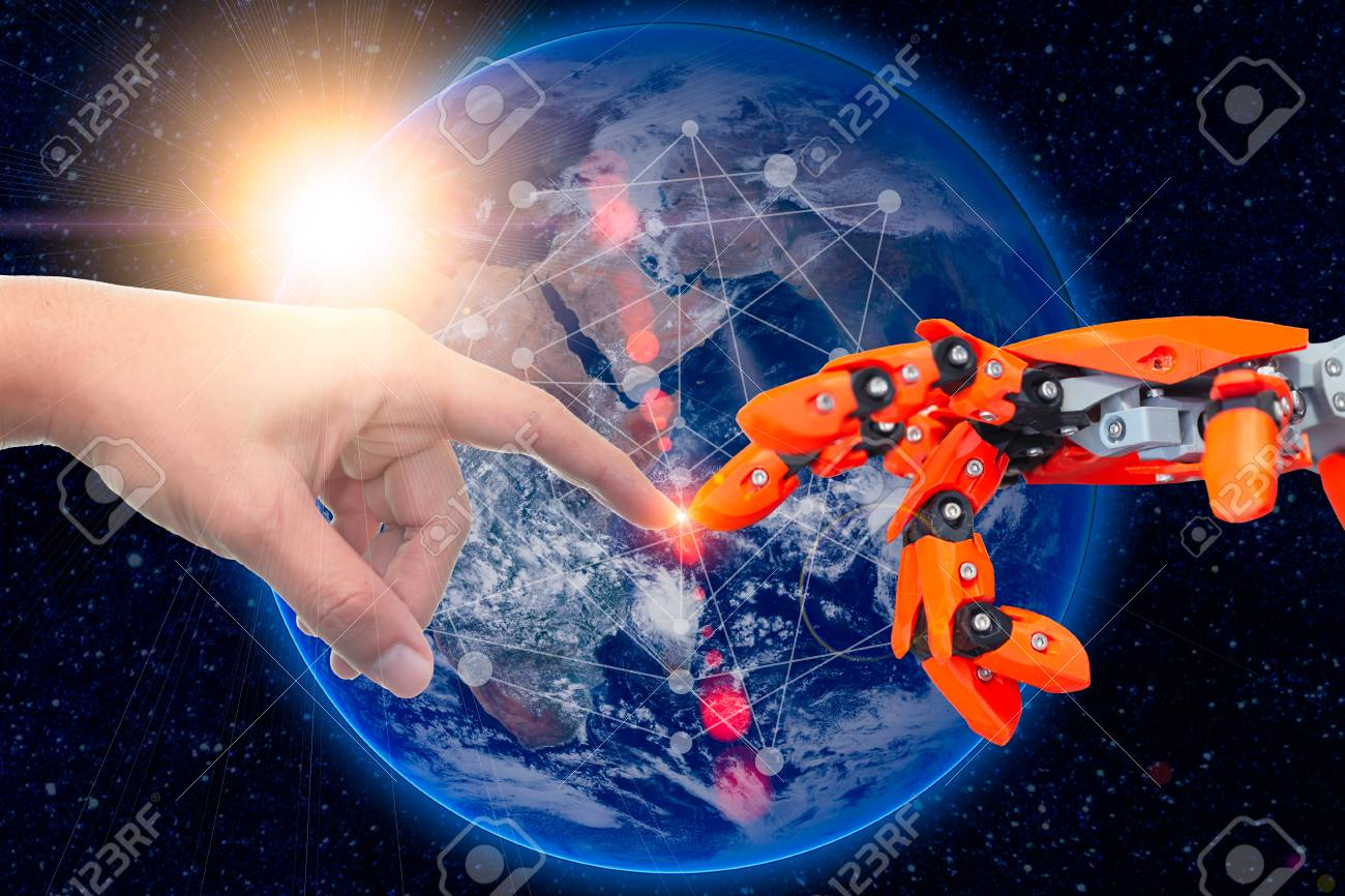 robotic engineering connected to people for future around the world concept. Elements of this image furnished by NASA. - 110433604