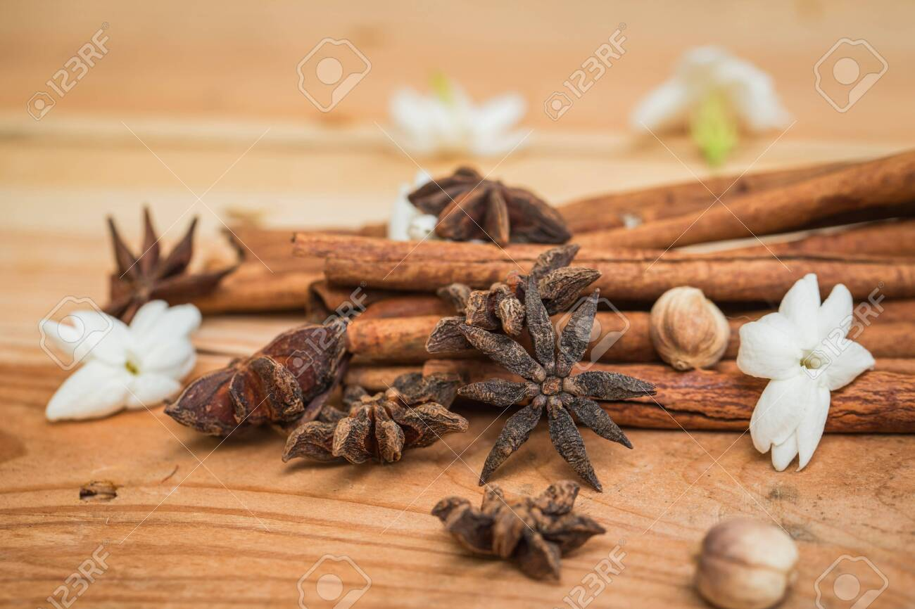 Wood Herbal Anise Stars With Cinnamon On Rustic Wooden Table