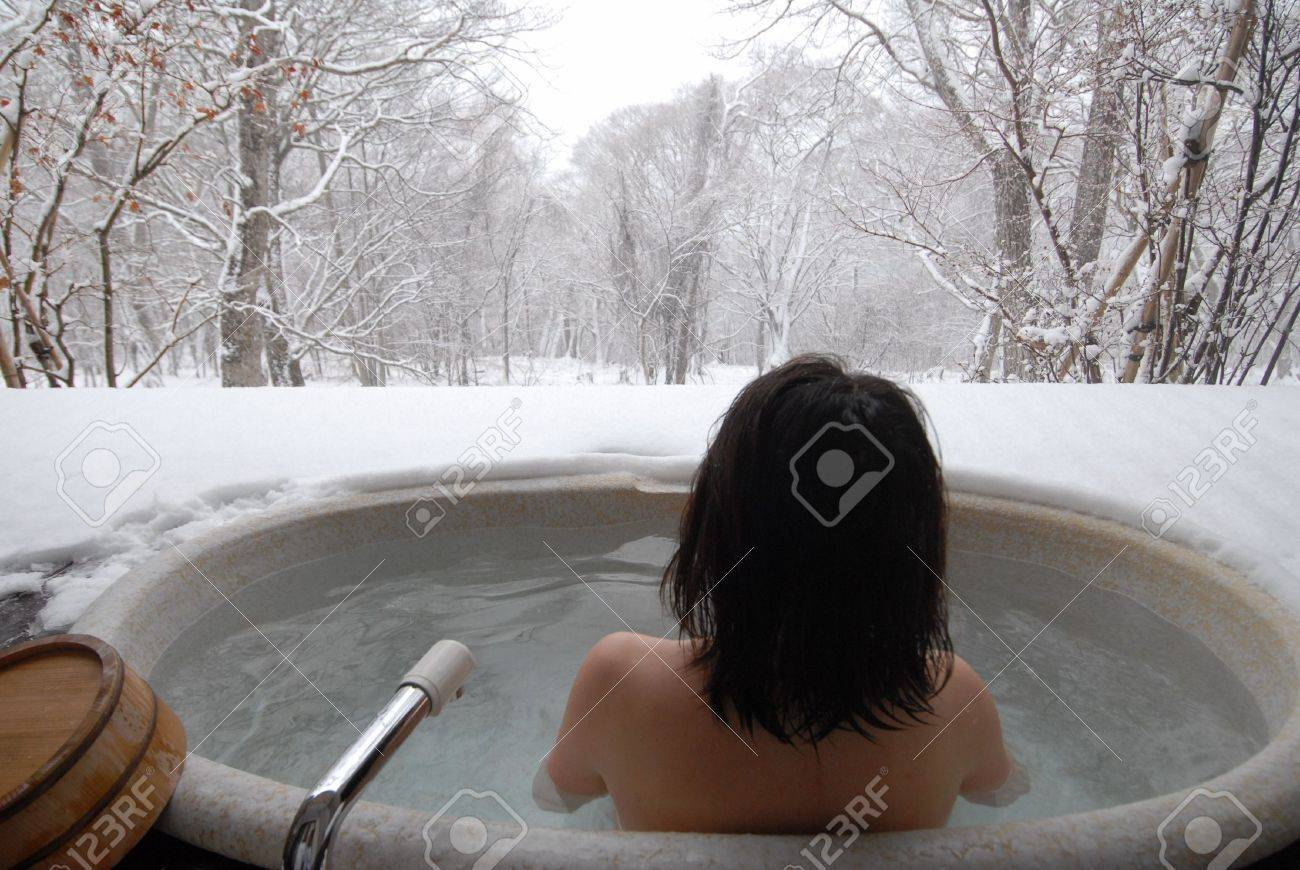 Young Japanese Woman In Open Air Bath Stock Photo, Picture And ...