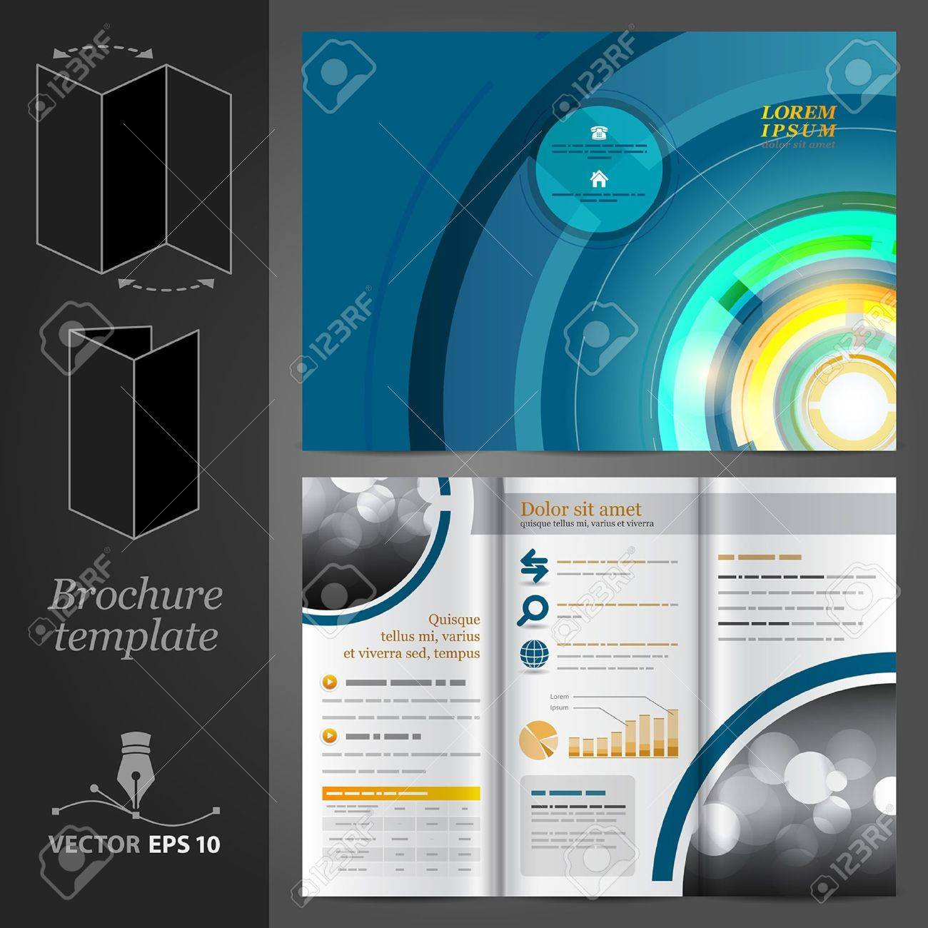 Vector blue brochure template design with round elements Stock Vector - 17431213