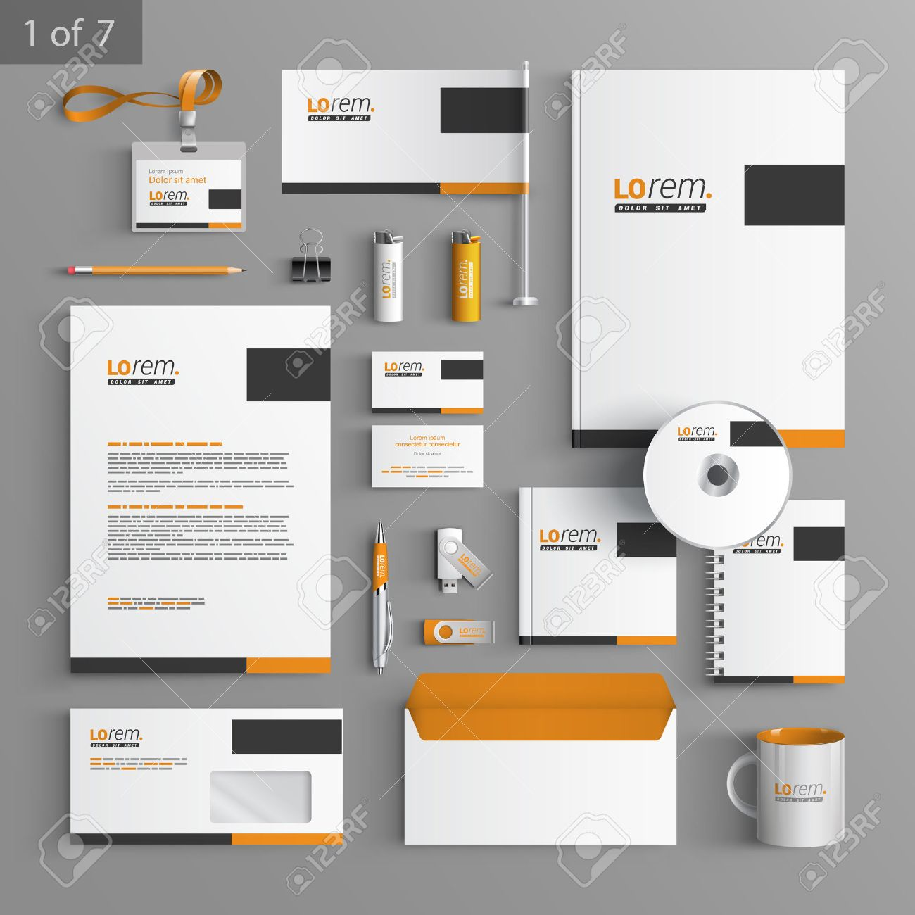classic stationery template design with black and orange square