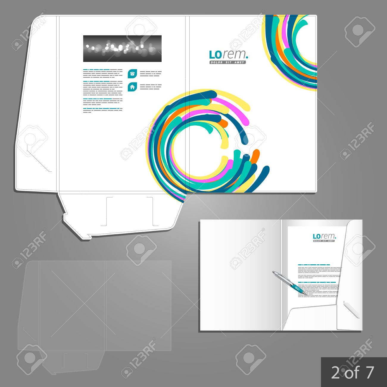 colorful folder template design for company with circles element