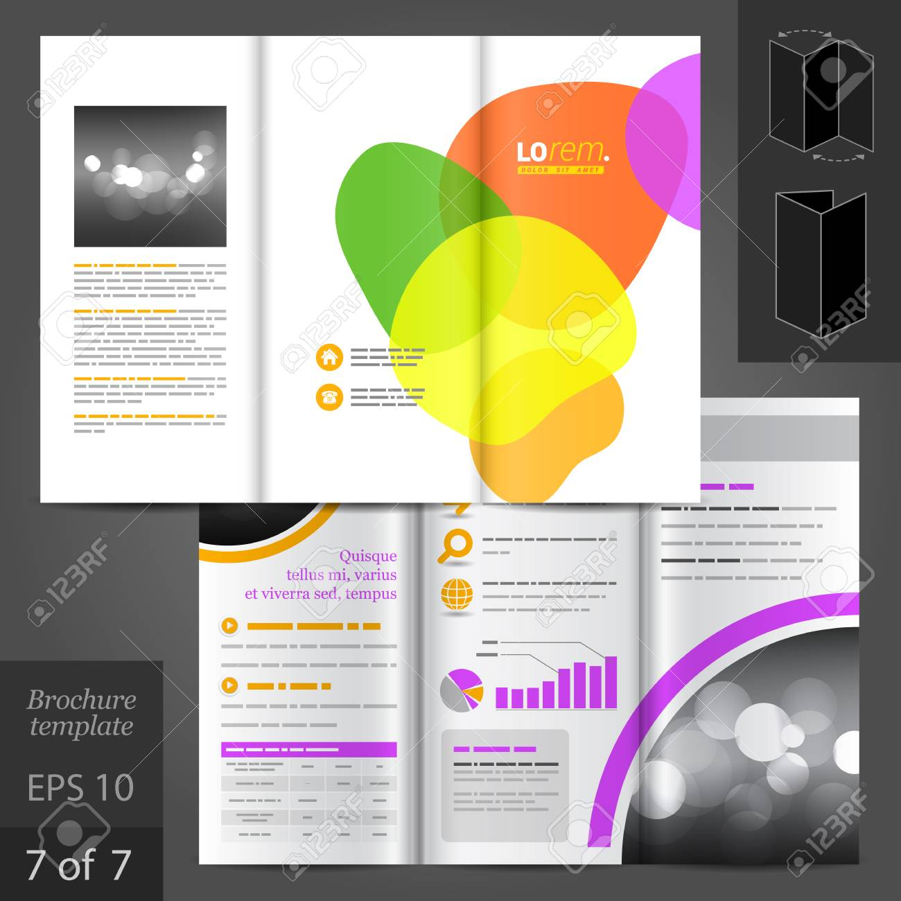Colorful Vector Creative Brochure Template Design With Art Round