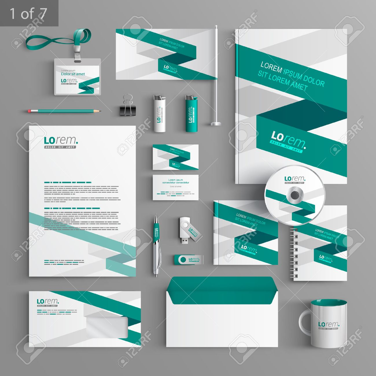 white corporate identity template design with green stripe business