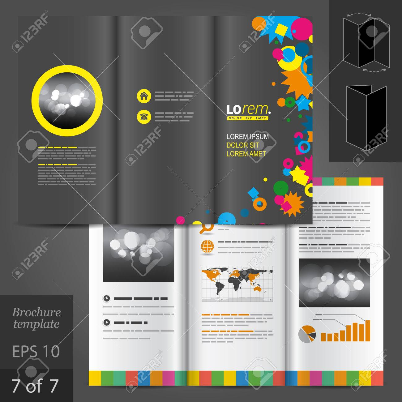 creative black brochure template design with color art elements creative black brochure template design with color