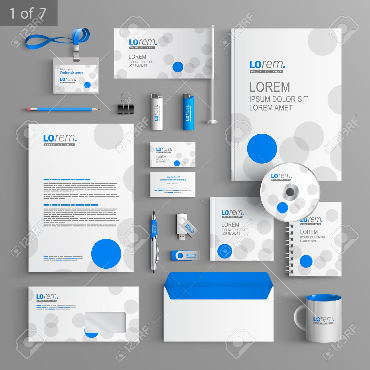 white corporate identity template design with blue and gray, Powerpoint templates