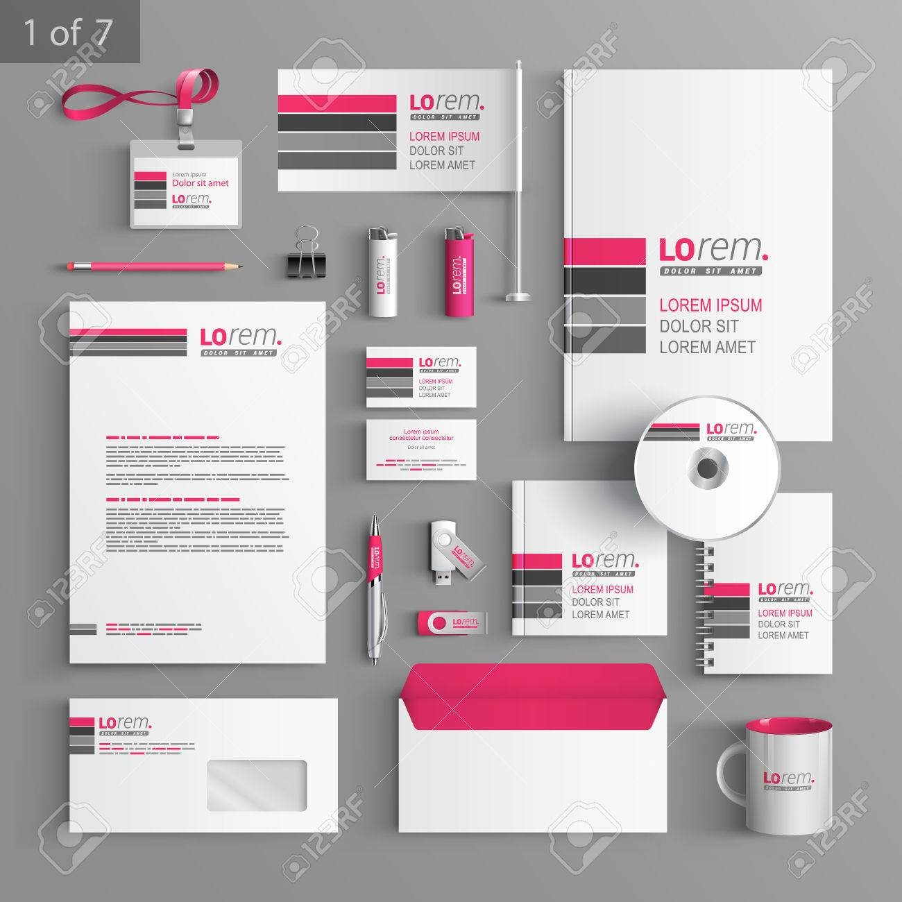 White Corporate Identity Template Design With Pink And Gray Lines ...