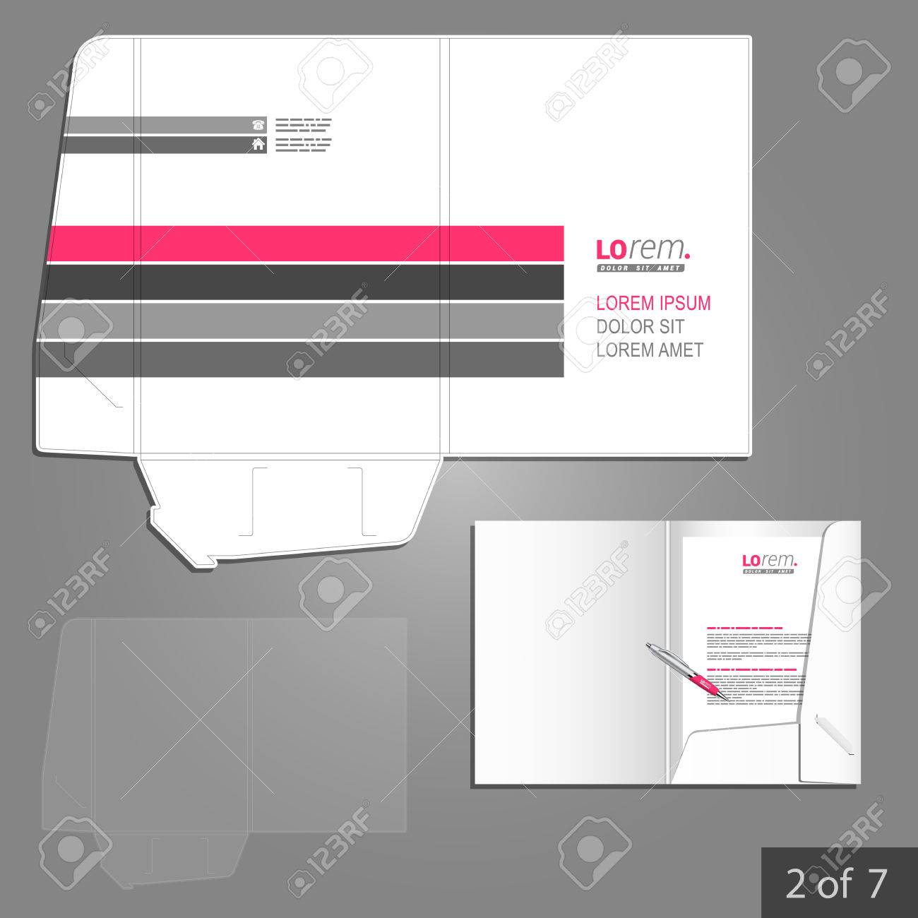 white folder template design for corporate identity with pink