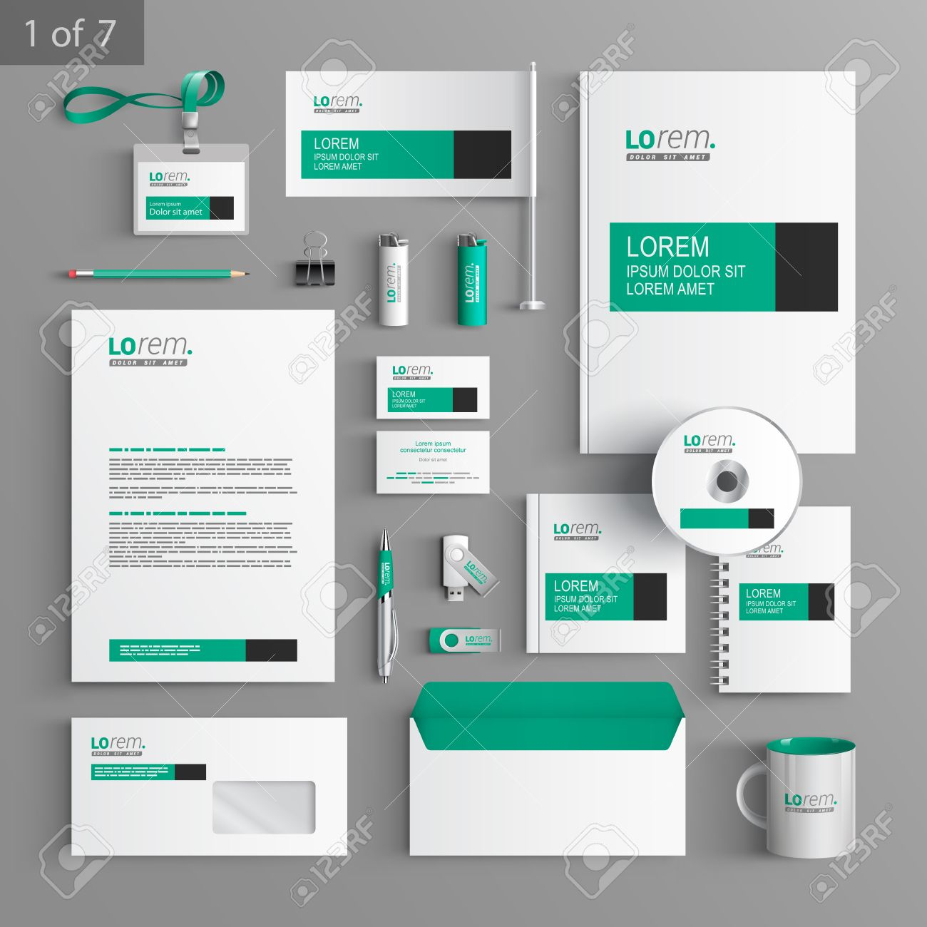 white classic corporate identity template design with green and